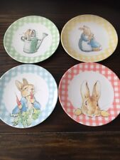 Pottery Barn Kids Beatrix Potter Gingham Easter plates Mixed Set of 4, NEW