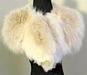 """Vintage Gorgeous 36"""" Soft Luxurious White Fox Fur Stole Wrap Collar Satin Lining"""