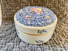 Schierholz Antique Elfinware Dresser Jar Porcelain Flowers - Rare