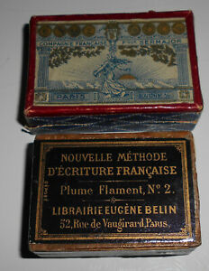 Boite de plumes;Flament n°2 E.B.Paris.+Boite de plumes; Sermajor. Semeuse.