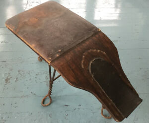PRIMITIVE ANTIQUE SHOE SHINE STAND BENCH-LEATHER & TWISTED METAL
