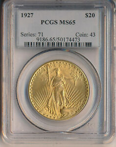 1927 $20 ST GAUDENS DOUBLE EAGLE GOLD COIN **PCGS CERTIFIED MS 65**