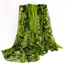 Women Lady Vintage Long Soft Cotton Voile Printed Scarves Shawl Wrap Scarf