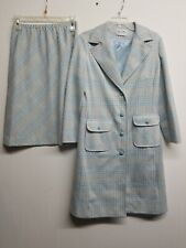 Vintage Union Made Butte Knit Two Piece - Long Jacket & Skirt Blue Green Plaid