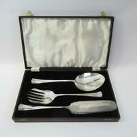 Vintage F C & Co EPNS Silver Plated Three Piece Serving Set with Leather Case