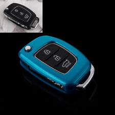 ABS PLASTIC PROTECTIVE CASE FOR 3 BUTTON KEY FLIP FOB HYUNDAI i10 i20 ix20 Blue