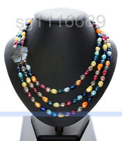 3 Strands 8-9mm Natural Multicolor freshwater Pearl Necklace SHELL CLASP