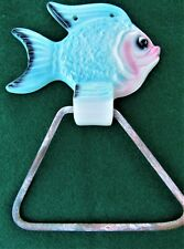 Vintage FISH TOWEL HOLDER Wall Plaque Mermaid Bath Decor Pink & Aqua Mid Century
