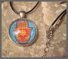 Hamsa Fatimas Hand Cabochon Anhänger mit Halskette Necklace NEU (E518)
