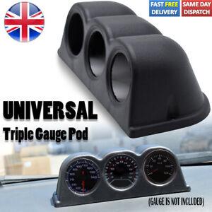 2'' 52mm 3 Hole Universal Triple Gauge Pod Mount Holder Dashboard Turbo Boost UK