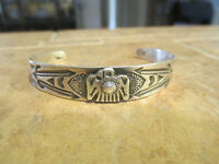 OLD Fred Harvey Era Navajo Coin / Sterling Silver APPLIED THUNDERBIRD Bracelet