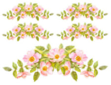 Vintage Shabby Watercolor Pastel Pink Wild Roses Swag Waterslide Decals Fl507