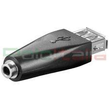 Adattatore USB femmina audio JACK Aux auto radio casse pc stereo cavo carica mp3