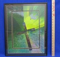 Original Spin Art Framed Picture Religious Cross & Dove Signed Paul Simonson Mat