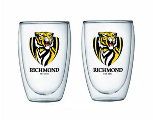 Richmond Tigers AFL Set of 2 Double Wall Glasses Tea Coffee Spirits Man Cave