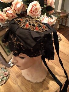OMG antique victorian edwardian? old mourning hat metallic french lace veil hat