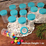 "24 Pill Jars 2+"" tall Screw on Aqua Cap 1 ounce Favor Size Container  3812 USA"