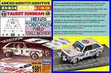 ANEXO DECAL 1/43 TALBOT SUNBEAM LOTUS HENRI TOIVONEN TOUR DE CORSE 1981 DnF (01)