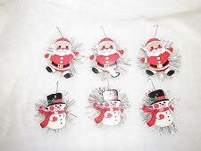 VTG CARDBOARD HONG KONG CHRISTMAS ORNAMENTS SANTA & SNOWMEN TINSEL