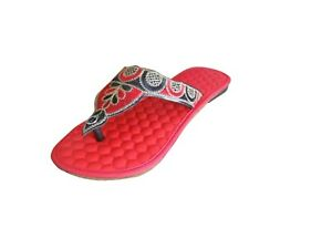 Women Slippers Indian Red Handmade Slip Ons Leather Casual Flip-Flops US 6-9