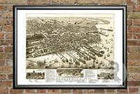 Old Map of Pensacola, FL from 1885 - Vintage Florida Art, Historic Decor