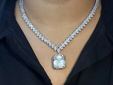 30ct Asscher Pear String Cocktail Party Necklace 925 Sterling Silver Cz 20in HOT