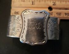 Early KIRK Coin Silver 11OZ NAPKIN RING with Applied Shield with Monogram