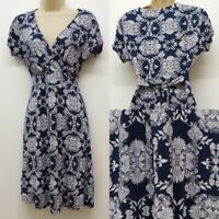 NEW RRP £45 Ex  Fat Face navy blue and white floral Wrap belted dress