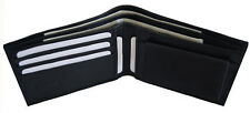 Men's Genuine Leather Bifold 5 Credit Card Money Wallet with Coin Pouch Black