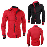 Fashion Men Luxury Casual Stylish Slim Fit Long Sleeve Casual Dress Shirts Tops