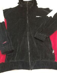 Vtg Fubu Sport Men's M Jacket Velour Track Zip Up Black Red White Casual