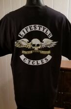 LIFESTYLE CYCLES Black Skull With Wings OFC T-Shirt Sz XXL