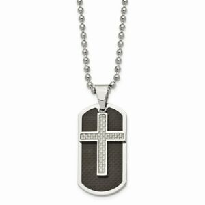 Stainless Steel Polished Blk/Grey Carbon Fiber Inlay Cross/DogTag Necklace