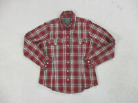 Woolrich Shirt Womens Small Red Green Plaid Pearl Snap Western Rodeo Ladies