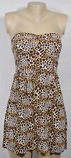 AS U WISH Brown Tan Black Beige Animal Print Strapless Dress Large Padded Bust