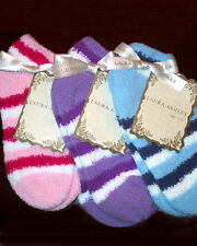 Laura Ashley Women's Warm Fuzzy Slipper Socks Blue Stripes