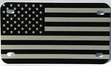 Motorcycle American Flag License Plate tag black