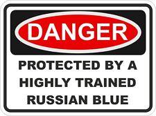 Cat breed bleu russe danger autocollant animal pour pare-chocs casier porte voiture