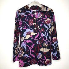 Floral Colorful Mod Blouse Whimsical True Vintage Velour 1/2 Button Pullover