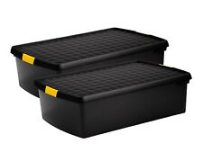 PACK OF 2 Large Plastic Storage Boxes with Lids Home Under Bed Office Stackable