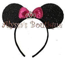 Minnie Mouse Ears Headband Princess Rhinestone Tiara Black with Pink Bow Party