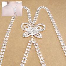 Diamante Bra Straps double Row Cross Back Butterfly Design