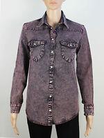 Miss Selfridge womens Size 6 8 burgundy denim shirt