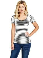 GUESS T-SHIRT Womens Black & White Stripe Stretch Scoop Neck Tee Top Size S NWT