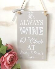 It's Always Wine O'Clock Plaque SIGN  Personalised Friend House warming Gift