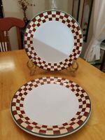 "ZAK designs 10.25"" Debbie Mumm Dinner Plates Folk Art Santas Set of 2 EUC"
