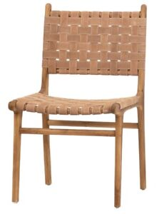 """19"""" W Set of 2 Placido Dining Chair Teak Wood Frame Woven Leather Strapping"""