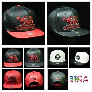 Baseball Cap Fashion Dad Hat Flat Bill Snapback CALI Bear Hip Hop Trucker Hat