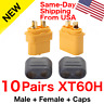 10 pairs Amass XT60H Connector Plug 3.5mm Gold Plated Plug Yellow Lipo W/ Caps