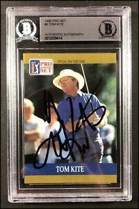 TOM KITE  AUTOGRAPHED AUTO 1990 PRO SET #6 GOLF CARD BECKETT SLABBED
